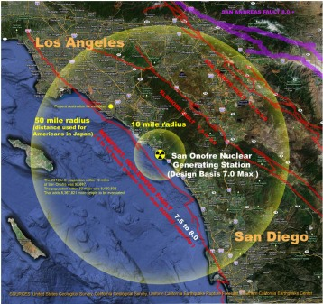 Earthquake Map within 10/50 miles of San Onofre