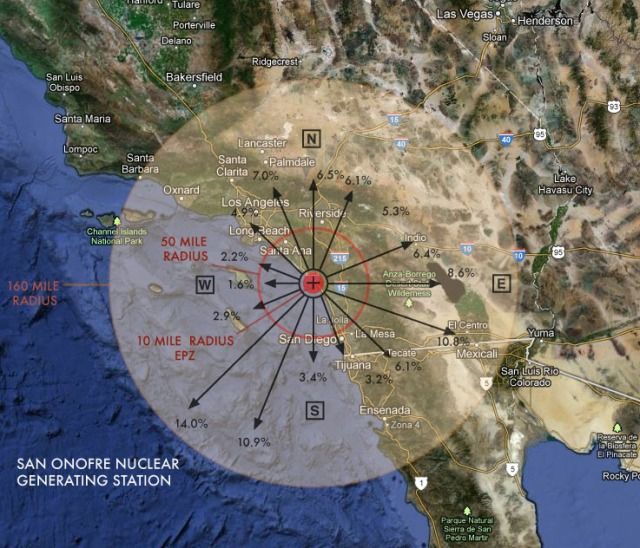 San Onofre Wind Rose Chart (wind directions - annual frequency) San Diego Nuclear Power Plant Emergency Response Plan 2011 Draft