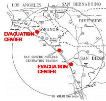 Evacuation Center Map - OC and SD County
