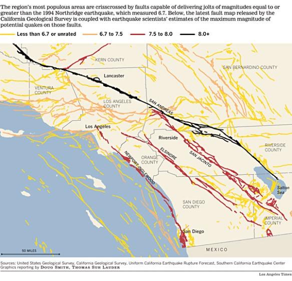 Map Southern California Earthquake Faults