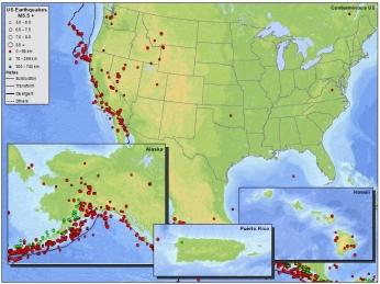 USGS M5+ earthquakes