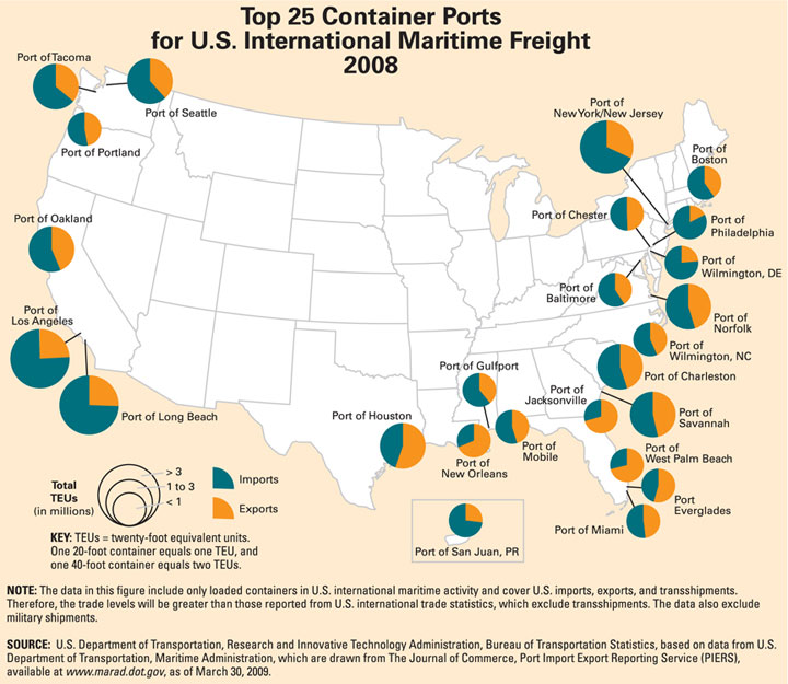 Southern California Ports At Risk From San Onofre Nuclear Plant - Us-east-coast-ports-map
